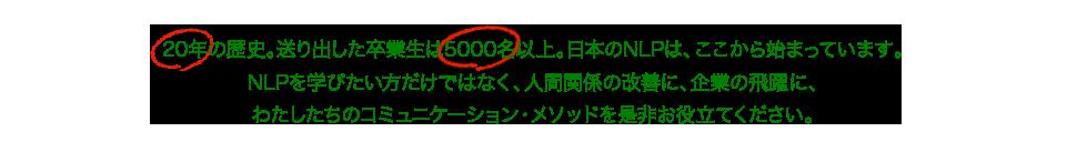 20年の歴史。送り出した卒業生は5000名以上。日本のNLPは、ここから始まっています。 NLPを学びたい方だけではなく、個人の方の暮らしに、企業の飛躍に、 わたしたちのコミュニケーション・メソッドを是非お役立てください。